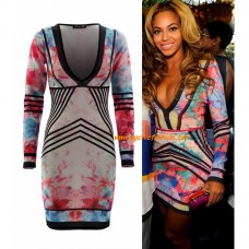 Floral Long Sleeves Dress In The Style Of Beyonce