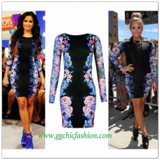 Chic Bodycon Long Sleeve Celebrity Inspired Dress