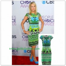 Gorgeous Celebrity Inspired Green Bow Print Bodycon Dress In The Style Of Paris Hilton