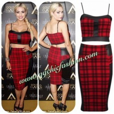 Celebrity Inspired Tartan Print Two Piece Suit