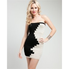 Bandage Contrast Cocktail Dress