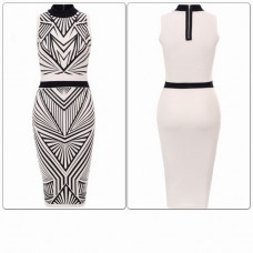 J-Lo High Neck Aztec Printed Dress