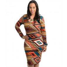 Celebrity Inspired Geo Pattern Design Bodycon Dress
