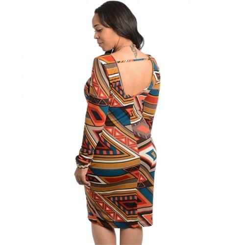 148d346abd9 Celebrity Inspired Geo Pattern Design Bodycon Dress