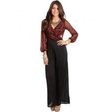 Red Black Lace Romper