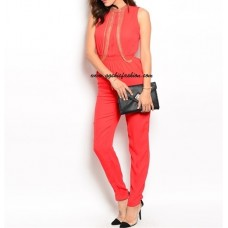 Chain Embellished Chest Red Romper